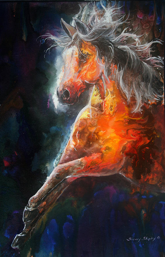 Horse Painting - Wildfire Fire Horse by Sherry Shipley