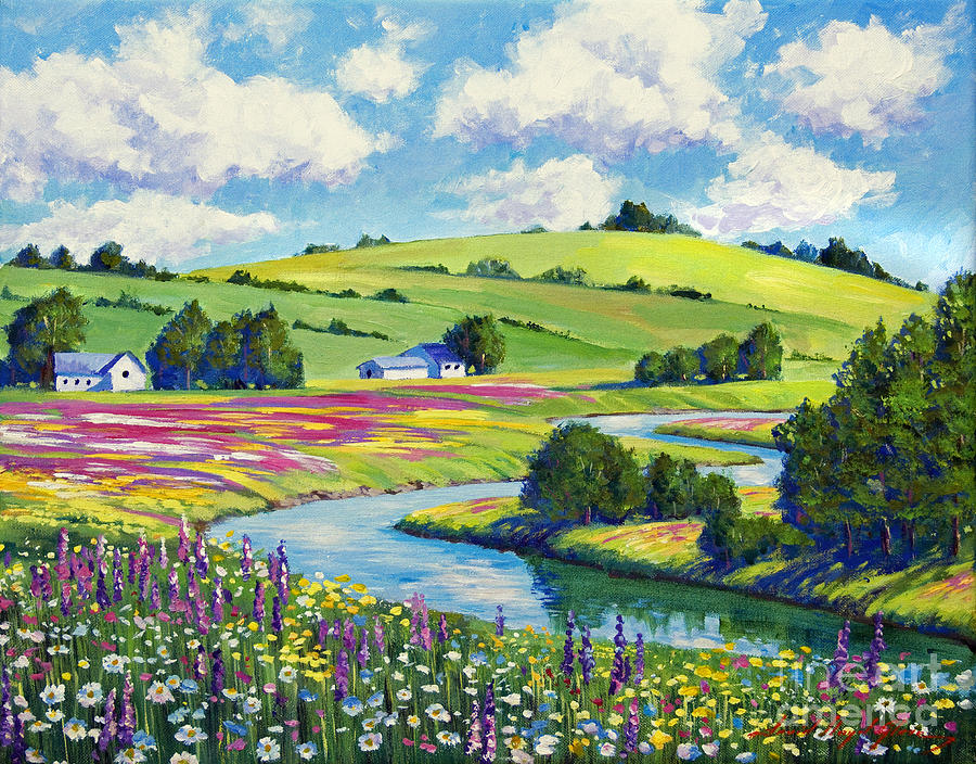 Landscape Painting - Wildflower Fields by David Lloyd Glover