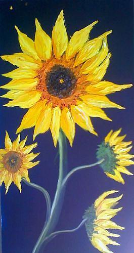 Wildflower Number 5 Orange Sunflower Painting by Portland Art Creations