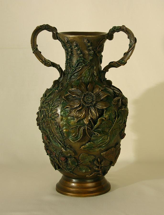 Floral Sculpture - Wildflower Vase Balsamroot Side by Dawn Senior-Trask