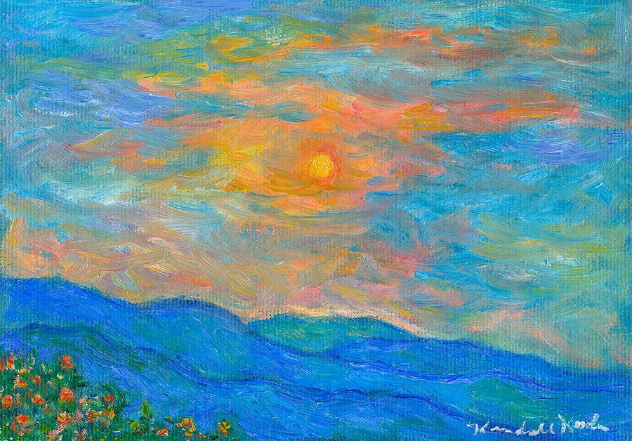 Landscape Painting - Wildflowers By A Blue Ridge Sunset by Kendall Kessler