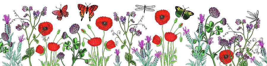 Wildflowers Field With Butterflies And Dragonflies Painting