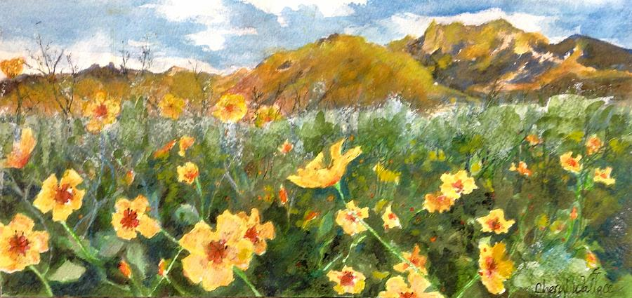 Arizona Painting - Wildflowers In The Desert by Cheryl Wallace