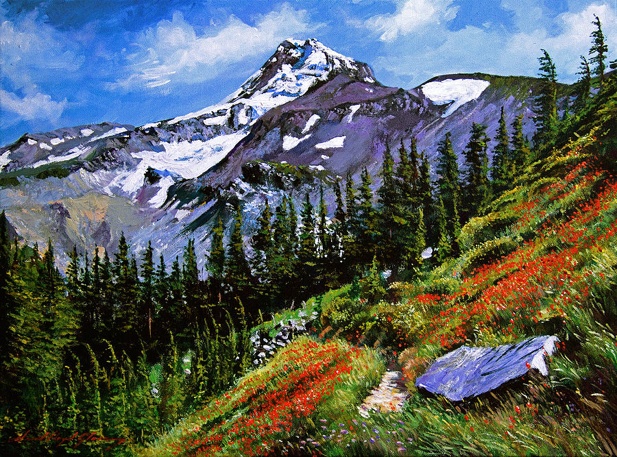 Mountain Painting - Wildflowers Mount Hood by David Lloyd Glover