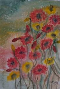 Watercolor Painting - WILDFLOWERS still life modern print by Derek Mccrea