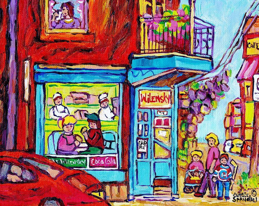 Montreal Painting - Wilensky Deli Dinner For Two Montreal Art Paintings Of Montreal C Spandau Montreal Street Scene Art  by Carole Spandau