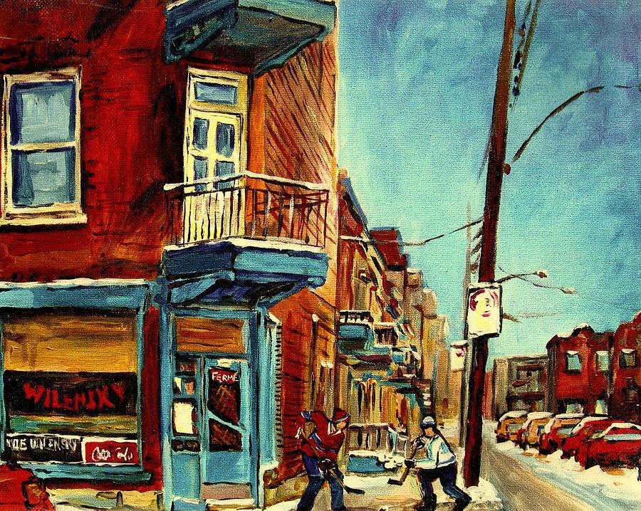 Montreal Painting - Wilenskys Corner Fairmount And Clark by Carole Spandau