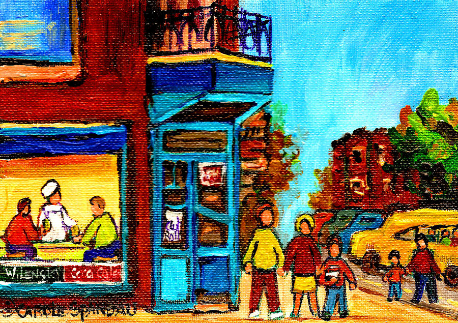 Montreal Painting - Wilenskys Lunch Counter With School Bus Montreal Street Scene by Carole Spandau
