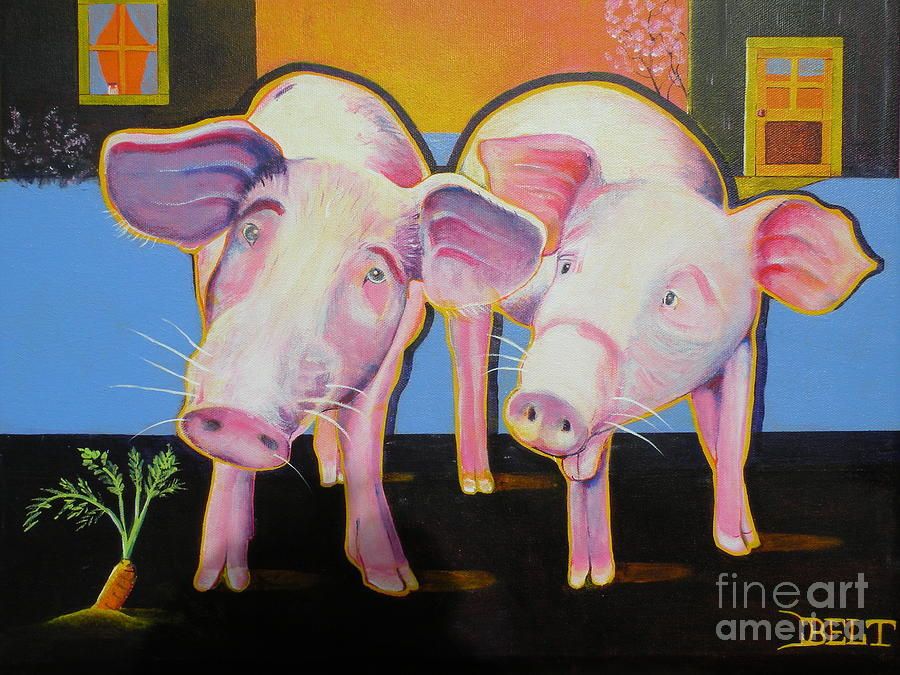 Pigs Painting - Wiley And  Mut by Christine Belt