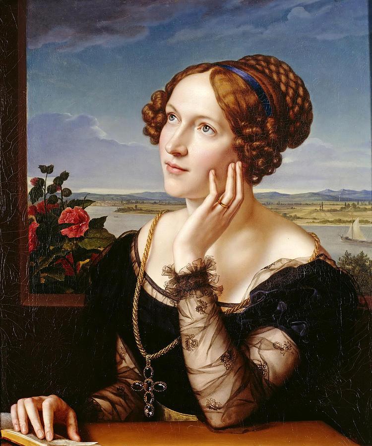 Beautiful Woman Painting - Wilhelmine Begas. The Artists Wife by Carl Joseph Begas