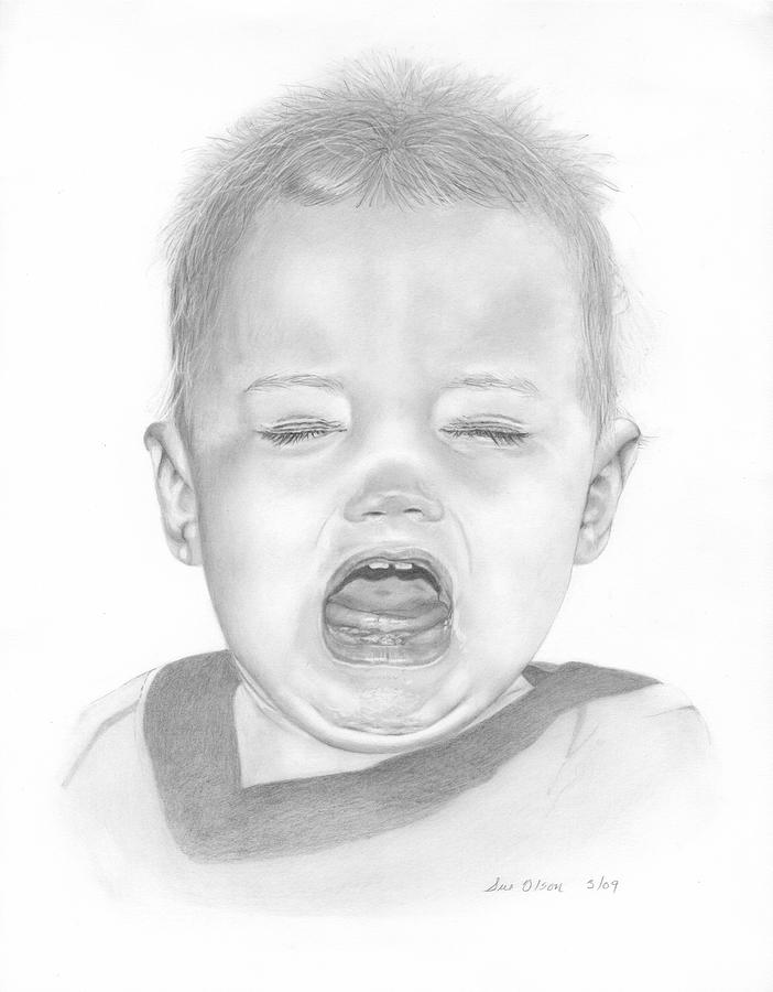 Crying Baby Drawing - Will In Tears by Sue Olson