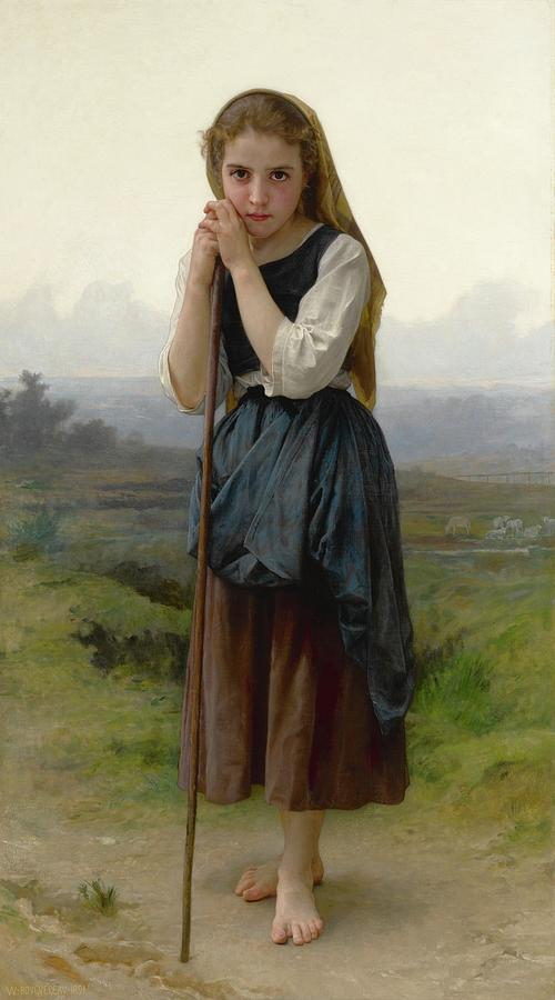 Girl Painting - William Bouguereau 1825-1905 French Petite Bergere by William Bouguereau