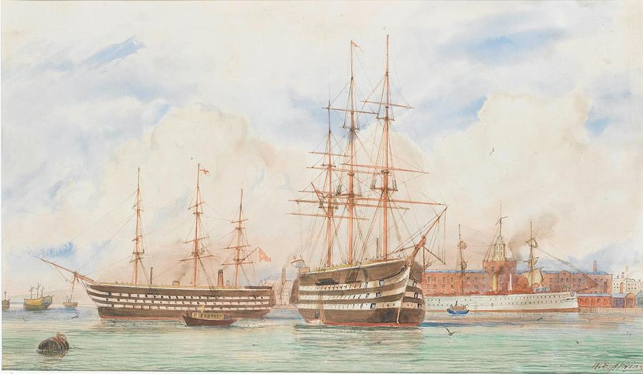 Beach Painting - William Edward Atkins H.m.s. Victory And H.m.s. Duke Of Wellington In Portsmouth Harbour With An Ind by William Edward Atkins
