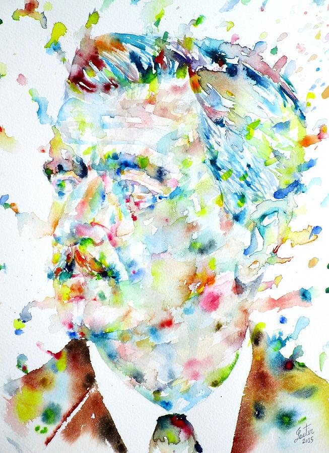 Faulkner Painting - William Faulkner - Watercolor Portrait.4 by Fabrizio Cassetta