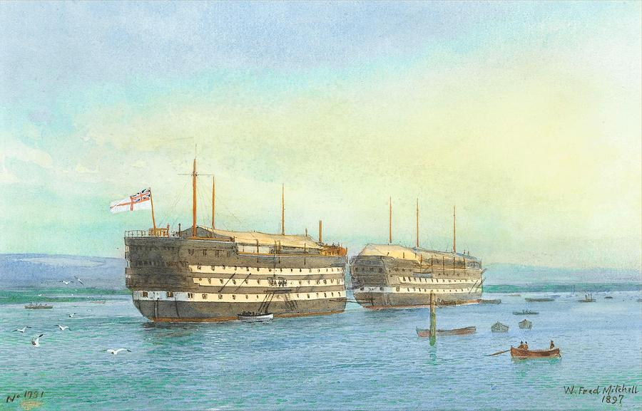 Beach Painting - William Frederick Mitchell , H.m.s. Excellent And H.m.s. Calcutta In Portsmouth Harbour, 1897 by William Frederick Mitchell