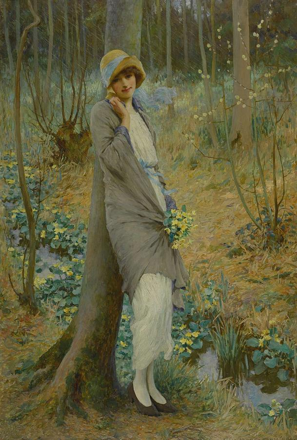 Beautiful Painting - William Henry Margetson 1861-1940 MARSH MARIGOLDS by William Henry Margetson