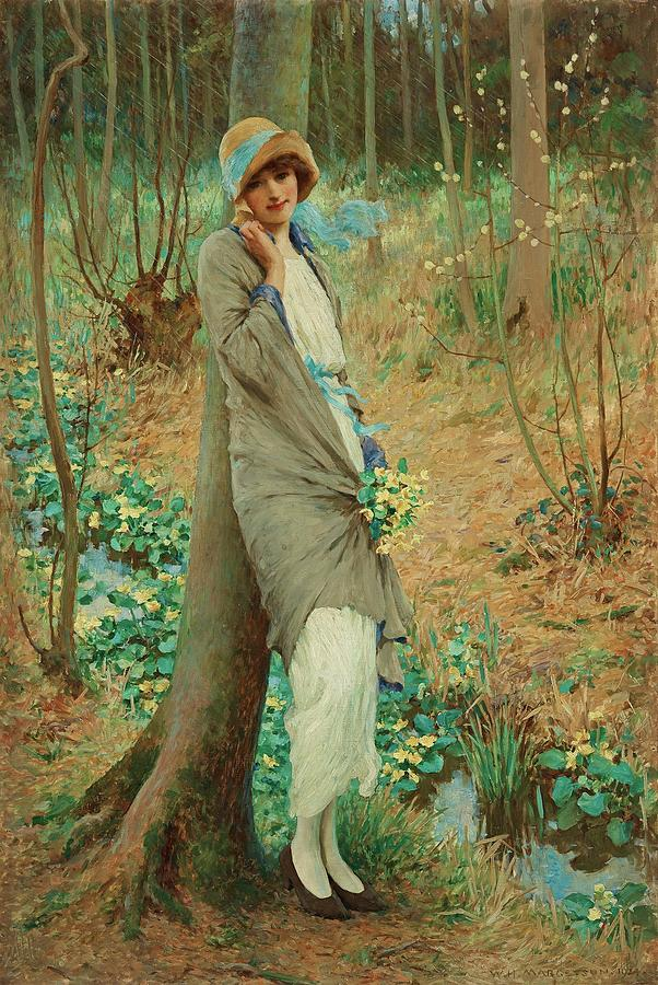 Girl Painting - William Henry Margetson, Woman In A Spring Landscape. by William Henry Margetson