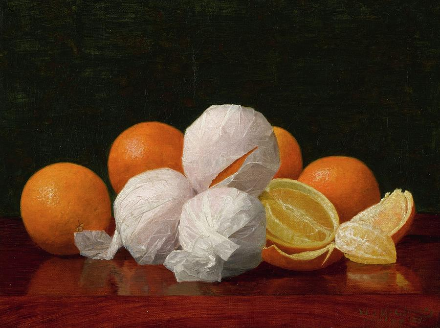 Girl Painting - William J. Mccloskey 1859 - 1941 Untitled Wrapped Oranges by William J McCloskey