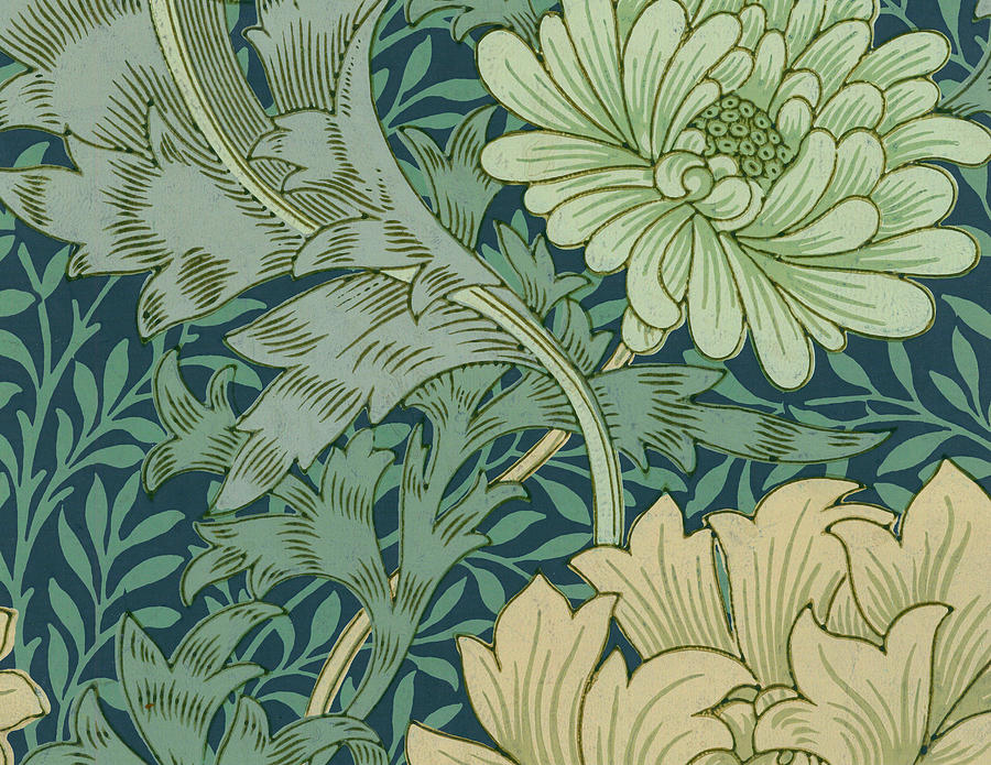 William Morris Wallpaper Sample With Chrysanthemum