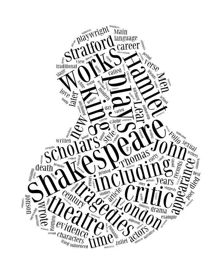 William Shakespeare Word Cloud Drawing by Philip Ralley