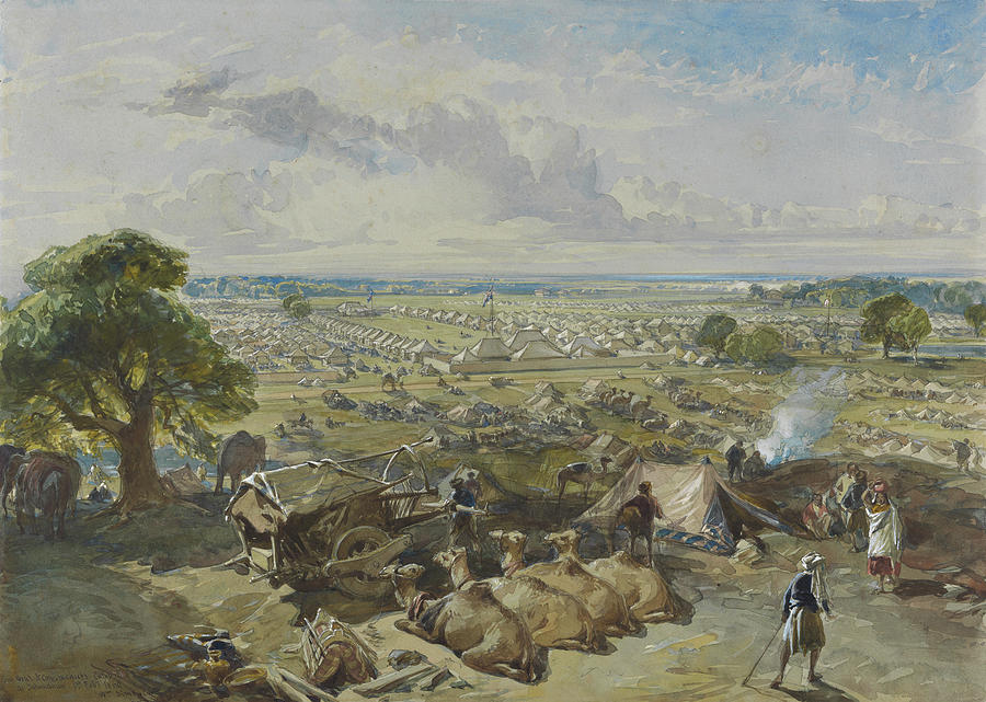 Nature Painting - William Simpson, 1823-1899, Nilitary Camp by William Simpson