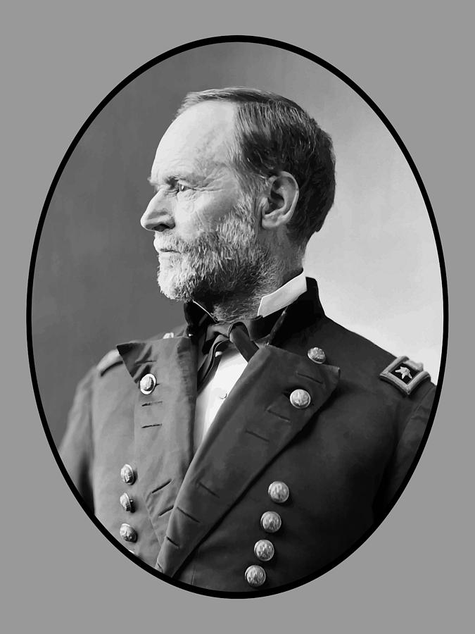 Civil War Painting - William Tecumseh Sherman by War Is Hell Store