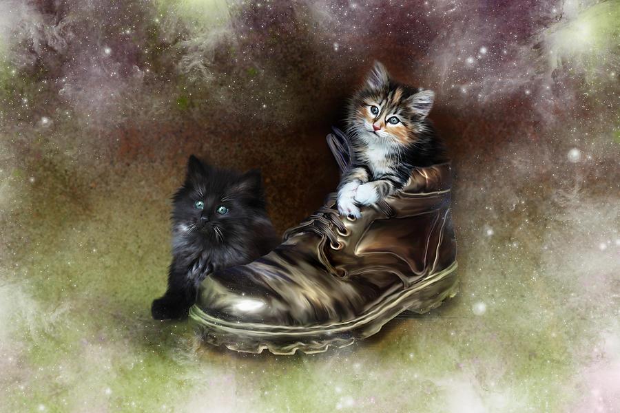 Kittens Digital Art - William Wendy And The Workboot by Julie L Hoddinott