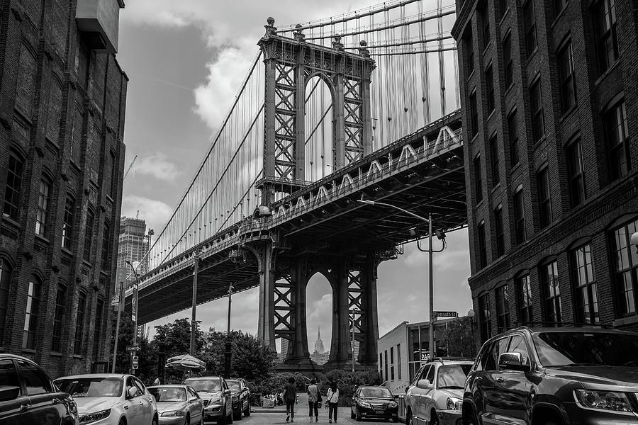 Williamsburg Bridge Photograph - Williamsburg Bridge And The Empire State Building by Roderick Breem