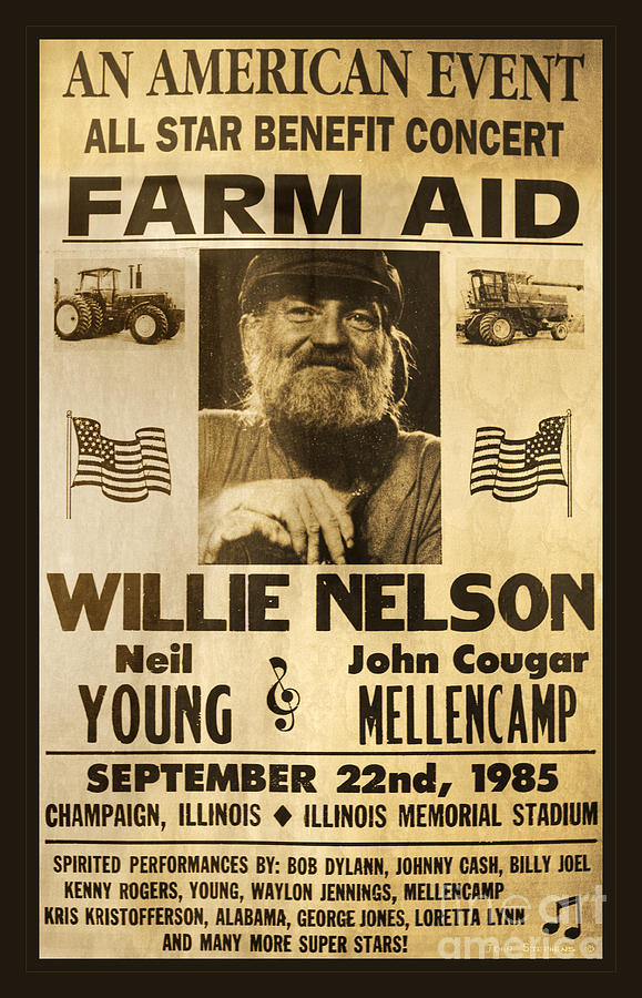 Willie Nelson Photograph - Willie Nelson Neil Young 1985 Farm Aid Poster by John Stephens