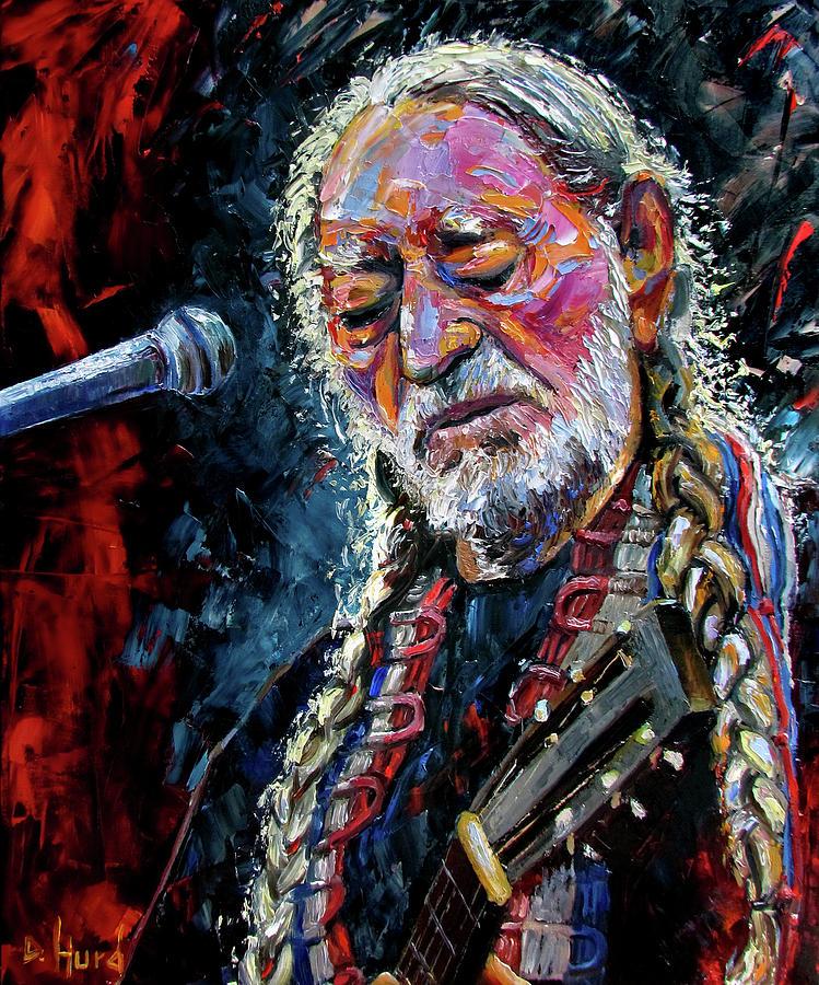 Debra Hurd Painting - Willie Nelson Portrait by Debra Hurd