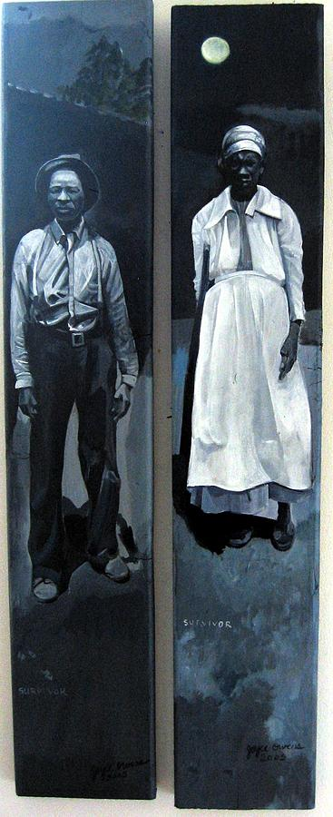 Black And White Painting - Willis And Lou Survivor Spirits  by Joyce Owens