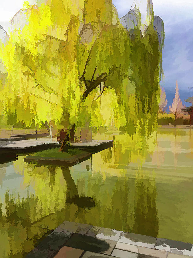 Willow Digital Art - Willow Tree In Liiang China I Painterly  by Linda Brody