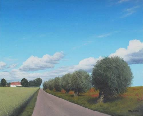 Landscape Painting - Willows in the sun by Peter Winberg