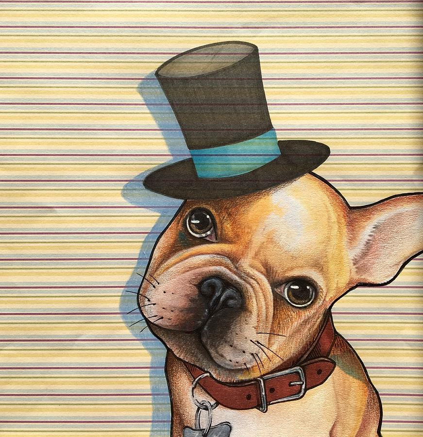 French Bulldog Mixed Media - Willy In A Top Hat by Sharon Hulme
