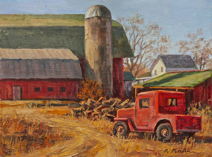 Farm Painting - Willys Jeep At Work by Robert Perrish