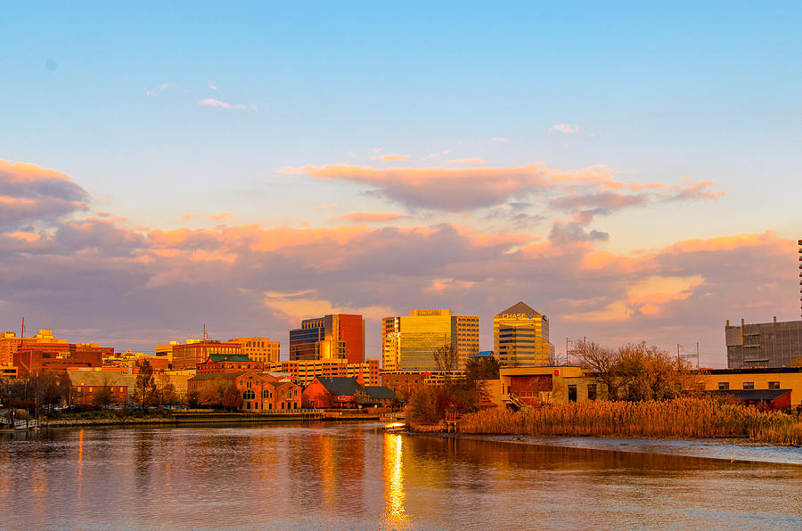 Color Photograph - Wilmington Skyline At Sunset by AE Jones