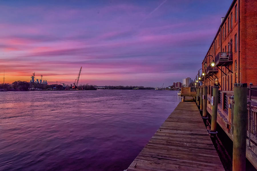 Sunset Photograph - Wilmington Waterfront by Bill Sincavage