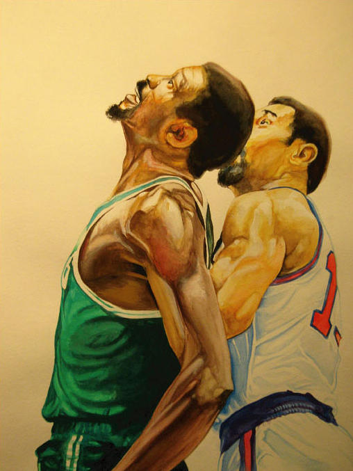 Basketball Painting - Wilt  by Keith Hancock