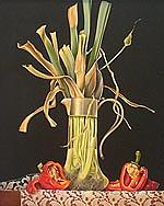 Wilted Leeks In Glass Pitcher With Red Peppers Painting by Judith Lamb
