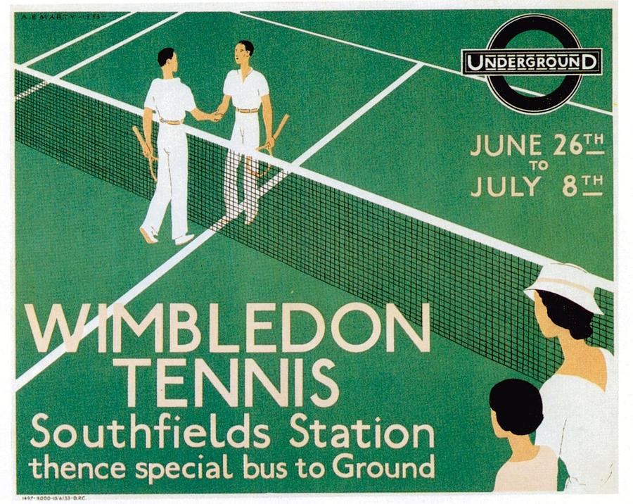 Wimbledon Mixed Media - Wimbledon Tennis Southfield Station - London Underground - Retro travel Poster - Vintage Poster by Studio Grafiikka