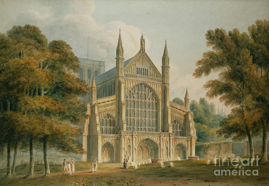Winchester Painting - Winchester Cathedral by John Buckler