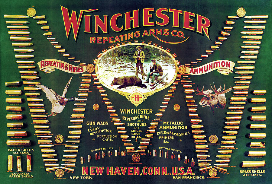 Cartridges Painting - Winchester Double W Cartridge Board by Unknown