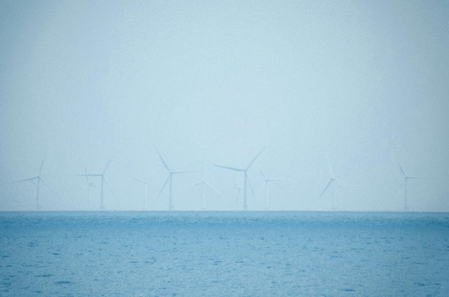 Wind Photograph - Wind Farm At Sea by Brainwave Pictures