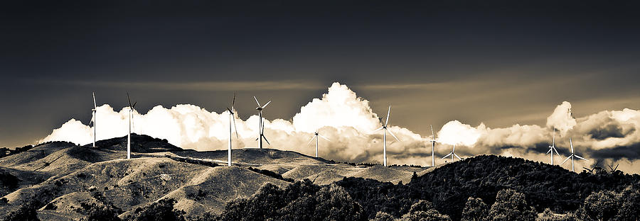 Split Tone Photograph - Wind Farm by Olwen Evans