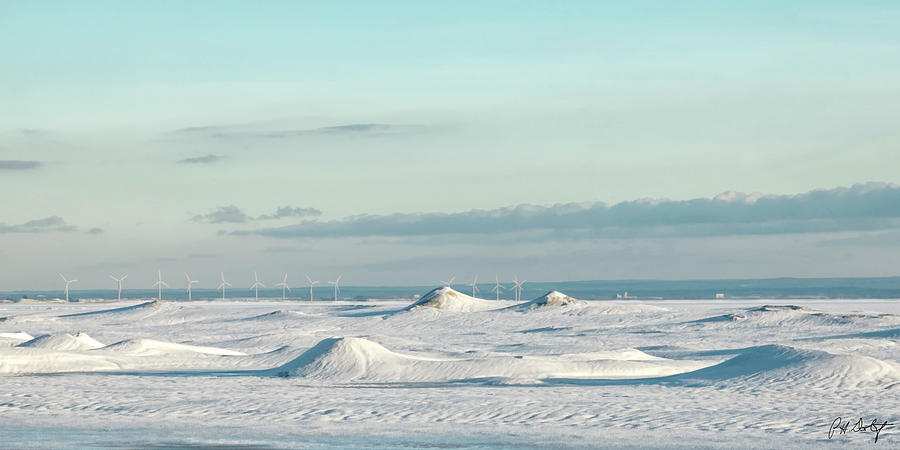 Beach Photograph - Wind Farm On Frozen Erie by Phill Doherty