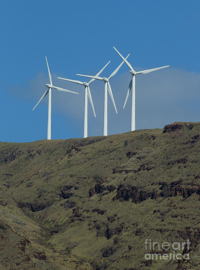 Wind Photograph - Wind Generators-signed-#0371 by J L Woody Wooden