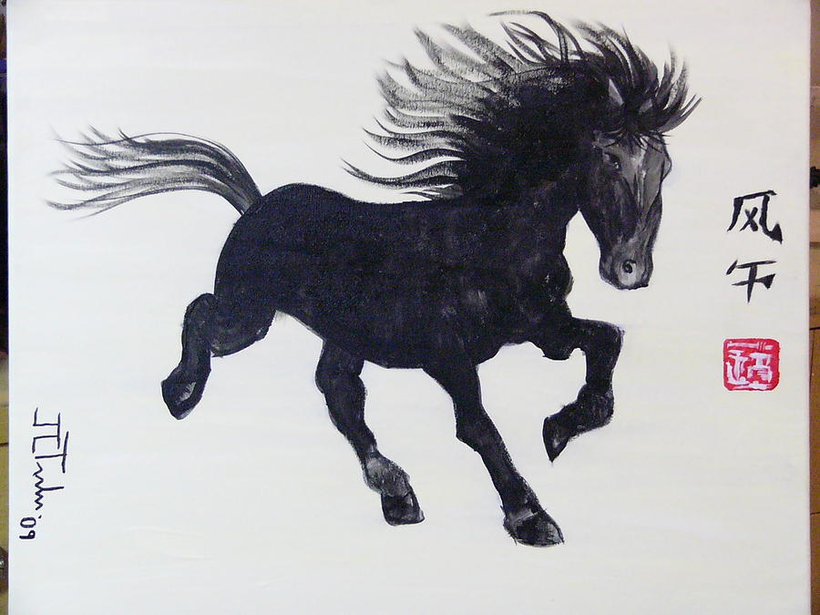Horse Painting - Wind Horse by Jean-Christophe Trahan