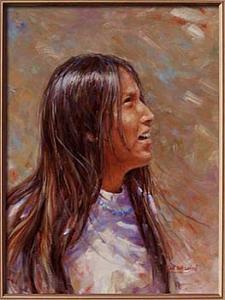 Navajo Painting - Wind In Her Hair by Karl Eric Leitzel