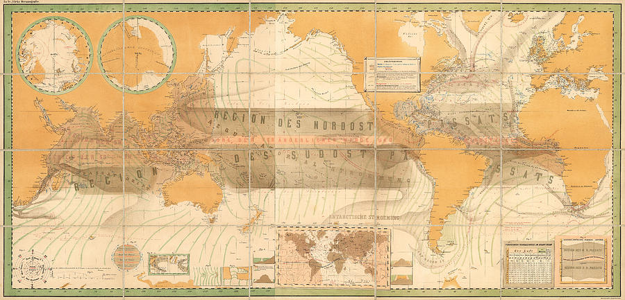 Wind Map Of The World - Meteorological Chart - Historic Chart Of The Wind Currents - Old Atlas Drawing