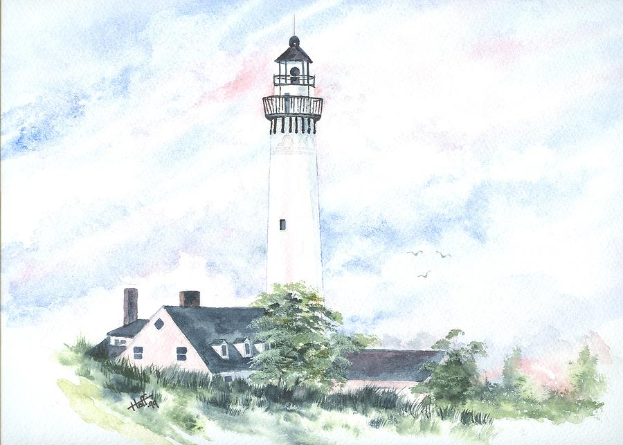 Lighthouse Painting - Wind Point Lighthouse by Denise   Hoff